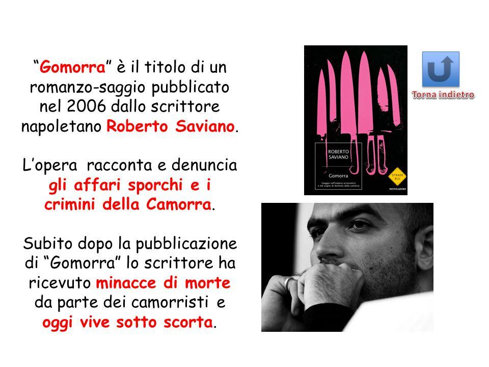 """""""Gomorra"""" è il titolo di un romanzo-saggio pubblicato nel 2006 dallo scrittore napoletano Roberto Saviano. L'opera racconta e denuncia gli affari spor"""
