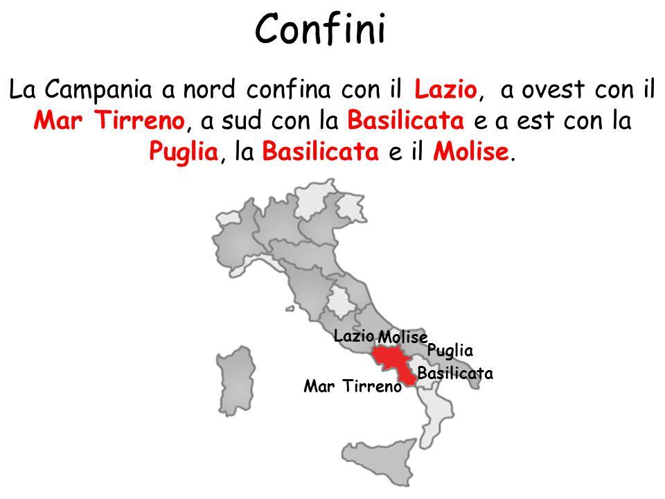 Confini La Campania a nord confina con il Lazio, a ovest con il Mar Tirreno, a sud con la Basilicata e a est con la Puglia, la Basilicata e il Molise.