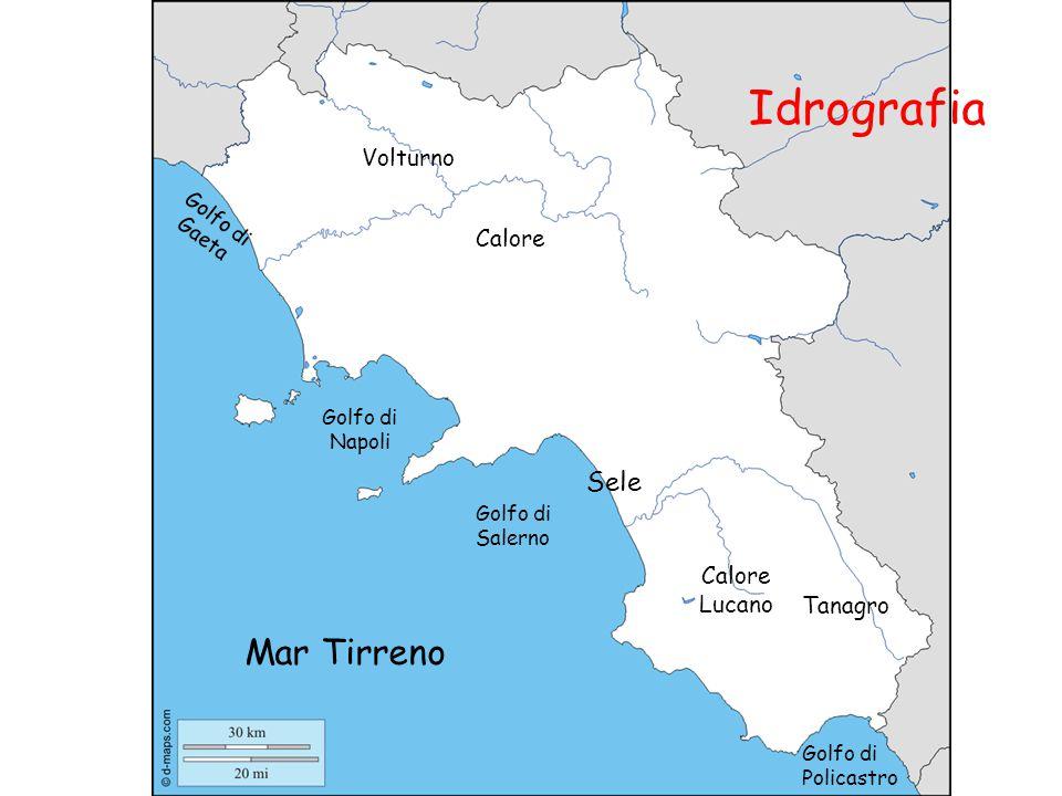Idrografia Sele Tanagro Volturno Calore Golfo di Salerno Golfo di Napoli Golfo di Gaeta Mar Tirreno Calore Lucano Golfo di Policastro