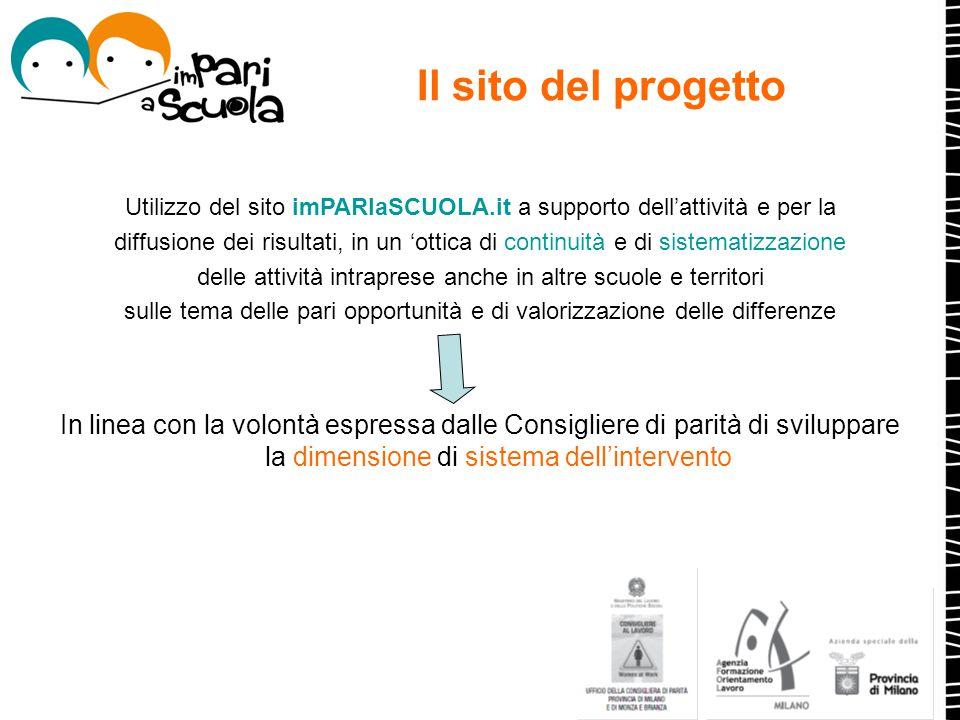 Il sito del progetto Utilizzo del sito imPARIaSCUOLA.it a supporto dell'attività e per la diffusione dei risultati, in un 'ottica di continuità e di s