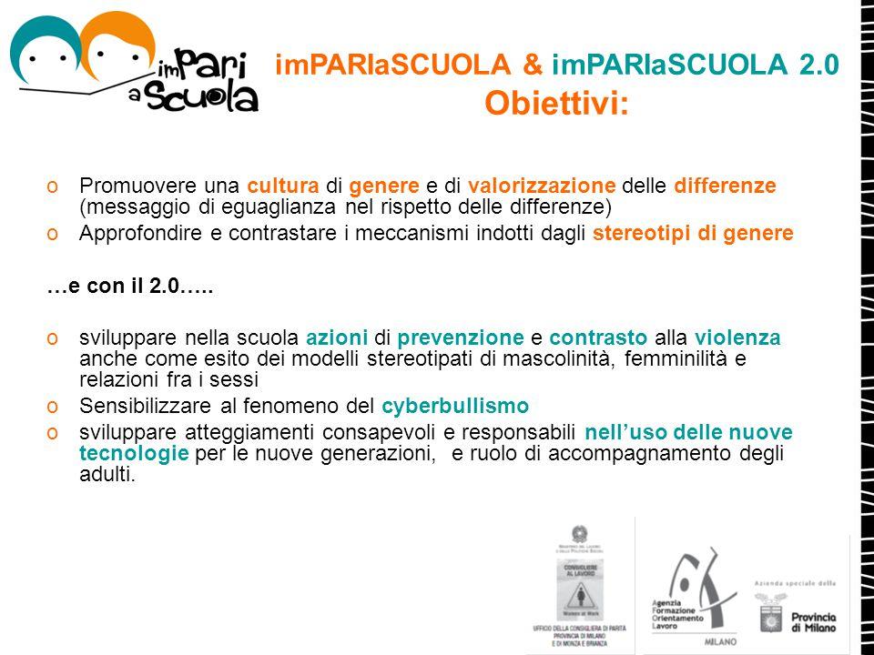 imPARIaSCUOLA & imPARIaSCUOLA 2.0 Obiettivi: oPromuovere una cultura di genere e di valorizzazione delle differenze (messaggio di eguaglianza nel risp