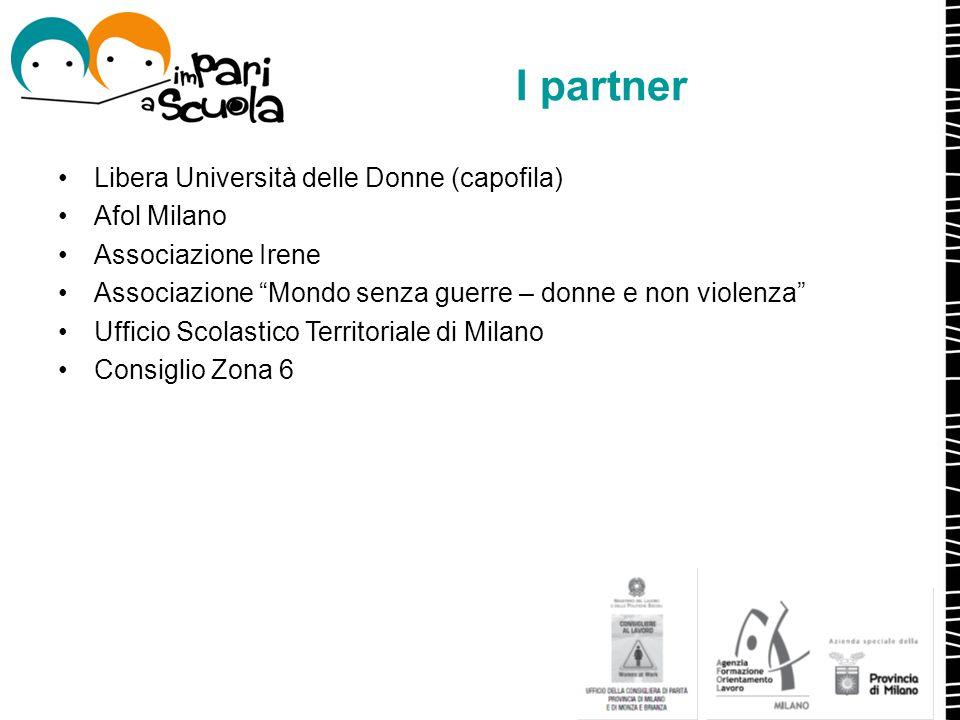 """I partner Libera Università delle Donne (capofila) Afol Milano Associazione Irene Associazione """"Mondo senza guerre – donne e non violenza"""" Ufficio Sco"""