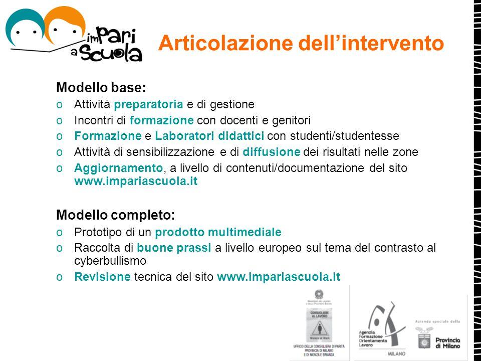 Articolazione dell'intervento Modello base: oAttività preparatoria e di gestione oIncontri di formazione con docenti e genitori oFormazione e Laborato