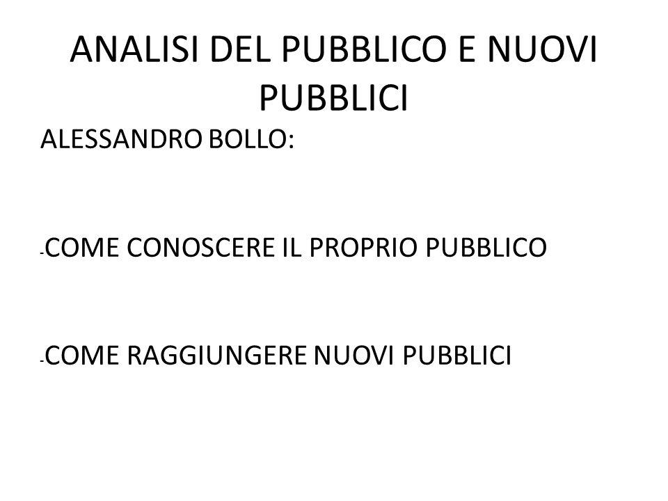 ANALISI DEL PUBBLICO E NUOVI PUBBLICI ALESSANDRO BOLLO: - COME CONOSCERE IL PROPRIO PUBBLICO - COME RAGGIUNGERE NUOVI PUBBLICI