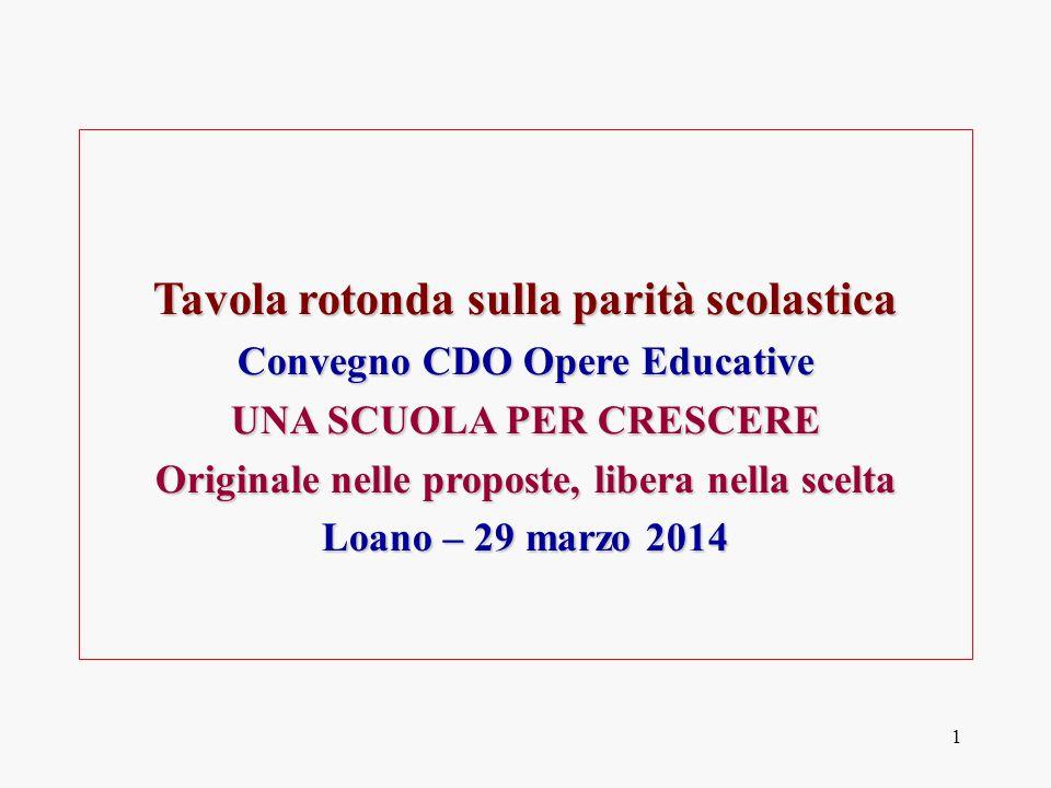 1 Tavola rotonda sulla parità scolastica Convegno CDO Opere Educative UNA SCUOLA PER CRESCERE Originale nelle proposte, libera nella scelta Loano – 29