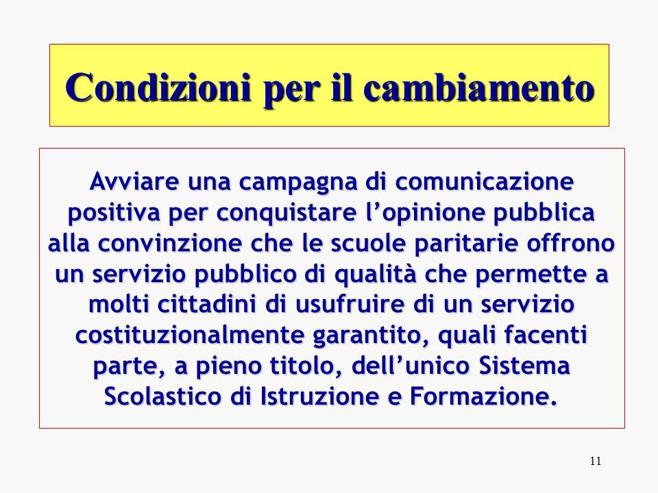 11 Avviare una campagna di comunicazione positiva per conquistare l'opinione pubblica alla convinzione che le scuole paritarie offrono un servizio pub