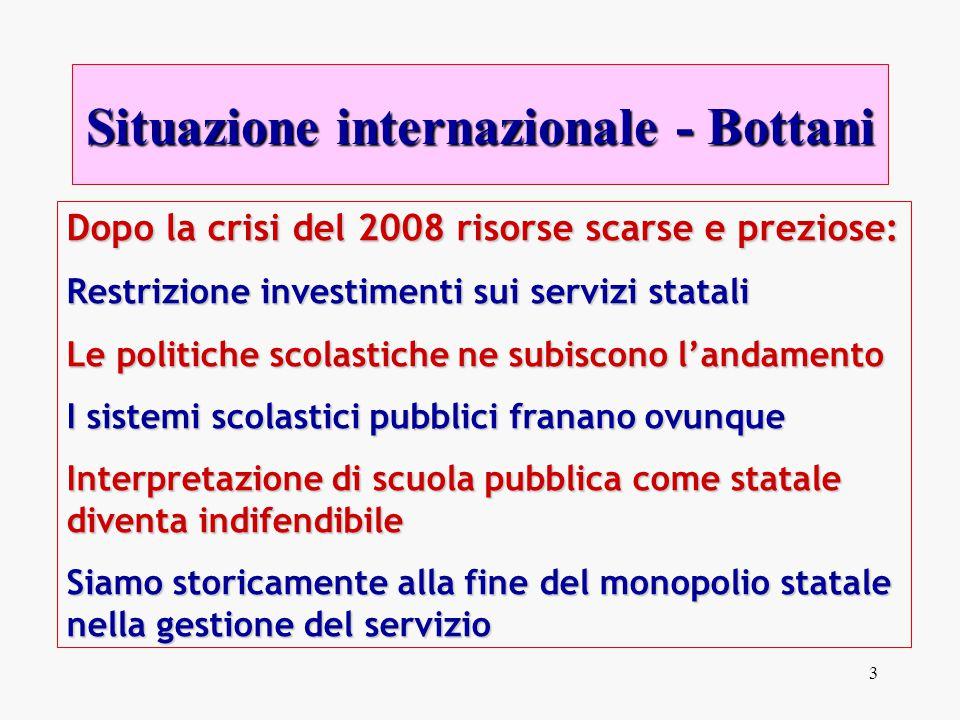 3 Dopo la crisi del 2008 risorse scarse e preziose: Restrizione investimenti sui servizi statali Le politiche scolastiche ne subiscono l'andamento I s
