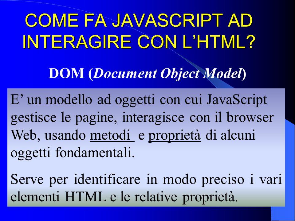 COME FA JAVASCRIPT AD INTERAGIRE CON L'HTML? DOM (Document Object Model) E' un modello ad oggetti con cui JavaScript gestisce le pagine, interagisce c