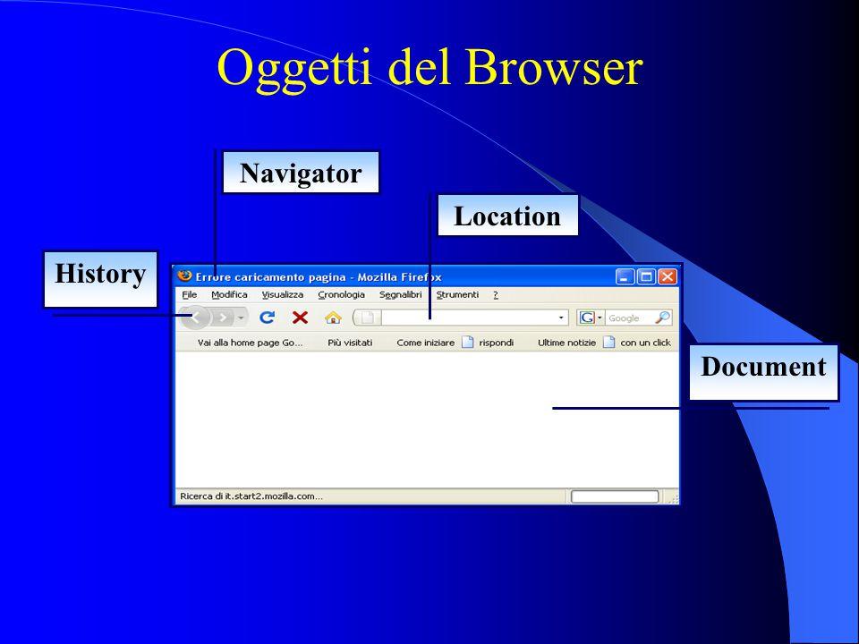 Oggetti del Browser Navigator History Location Document