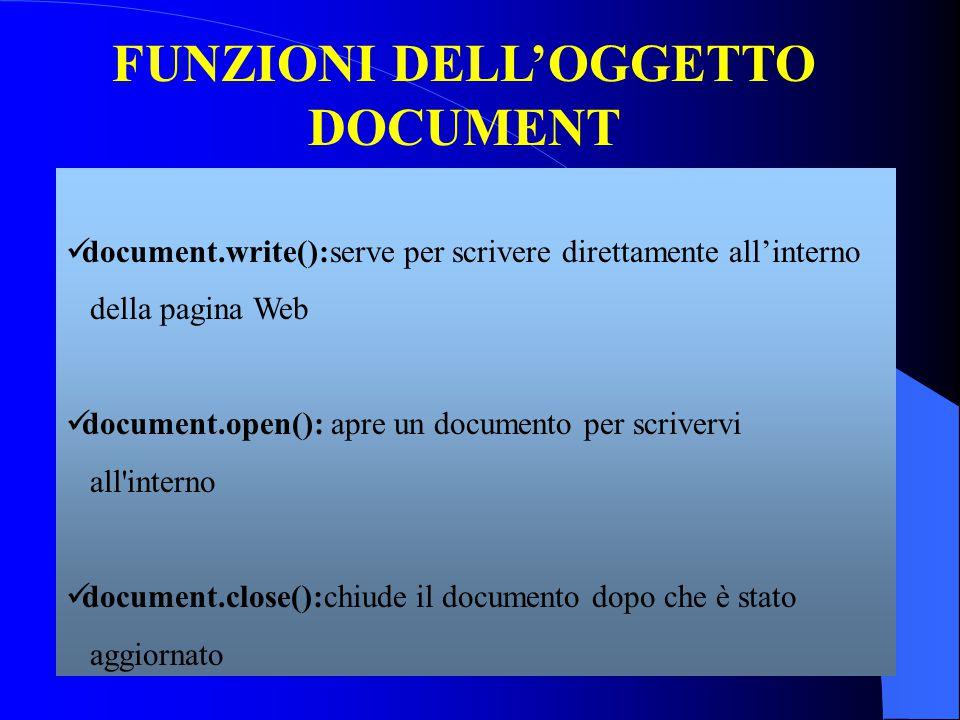 FUNZIONI DELL'OGGETTO DOCUMENT document.write():serve per scrivere direttamente all'interno della pagina Web document.open(): apre un documento per scrivervi all interno document.close():chiude il documento dopo che è stato aggiornato