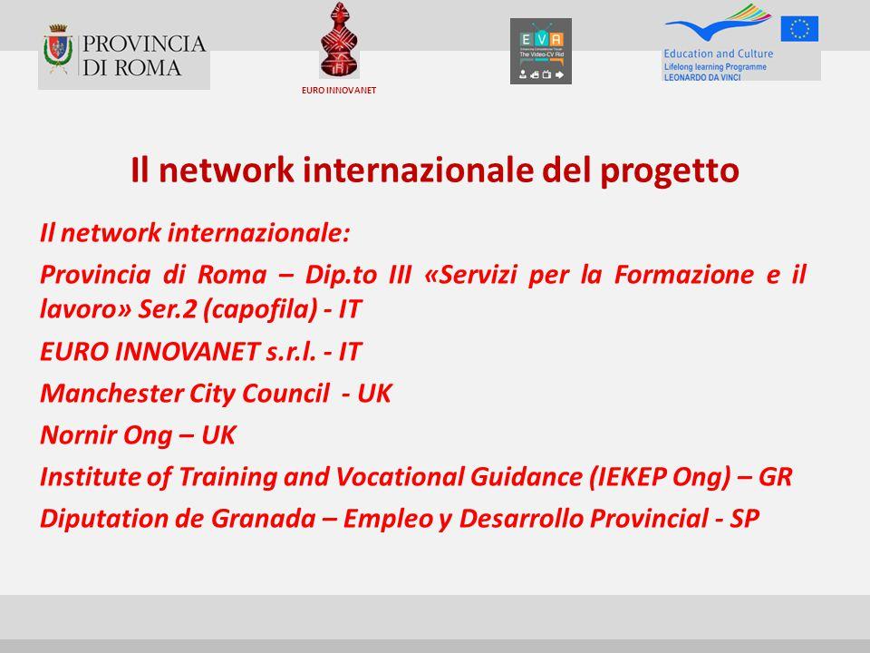Il network internazionale del progetto Il network internazionale: Provincia di Roma – Dip.to III «Servizi per la Formazione e il lavoro» Ser.2 (capofila) - IT EURO INNOVANET s.r.l.