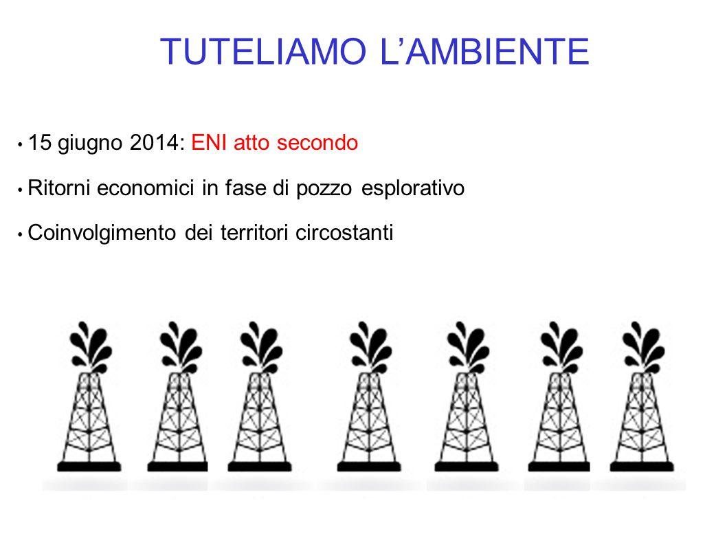 TUTELIAMO L'AMBIENTE 15 giugno 2014: ENI atto secondo Ritorni economici in fase di pozzo esplorativo Coinvolgimento dei territori circostanti