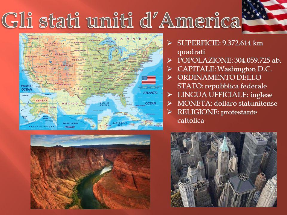  SUPERFICIE: 9.372.614 km quadrati  POPOLAZIONE: 304.059.725 ab.  CAPITALE: Washington D.C.  ORDINAMENTO DELLO STATO: repubblica federale  LINGUA