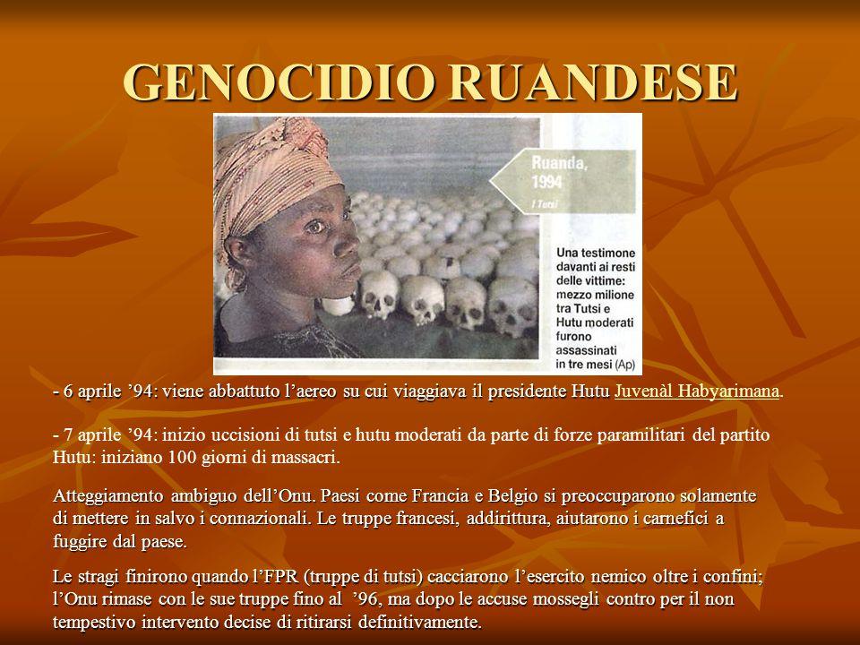 GENOCIDIO RUANDESE - 6 aprile '94: viene abbattuto l'aereo su cui viaggiava il presidente Hutu - 6 aprile '94: viene abbattuto l'aereo su cui viaggiav