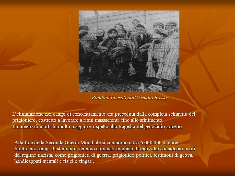 Bambini liberati dall'Armata Rossa L'eliminazione nei campi di concentramento era preceduta dalla completa schiavitù del prigioniero, costretto a lavo