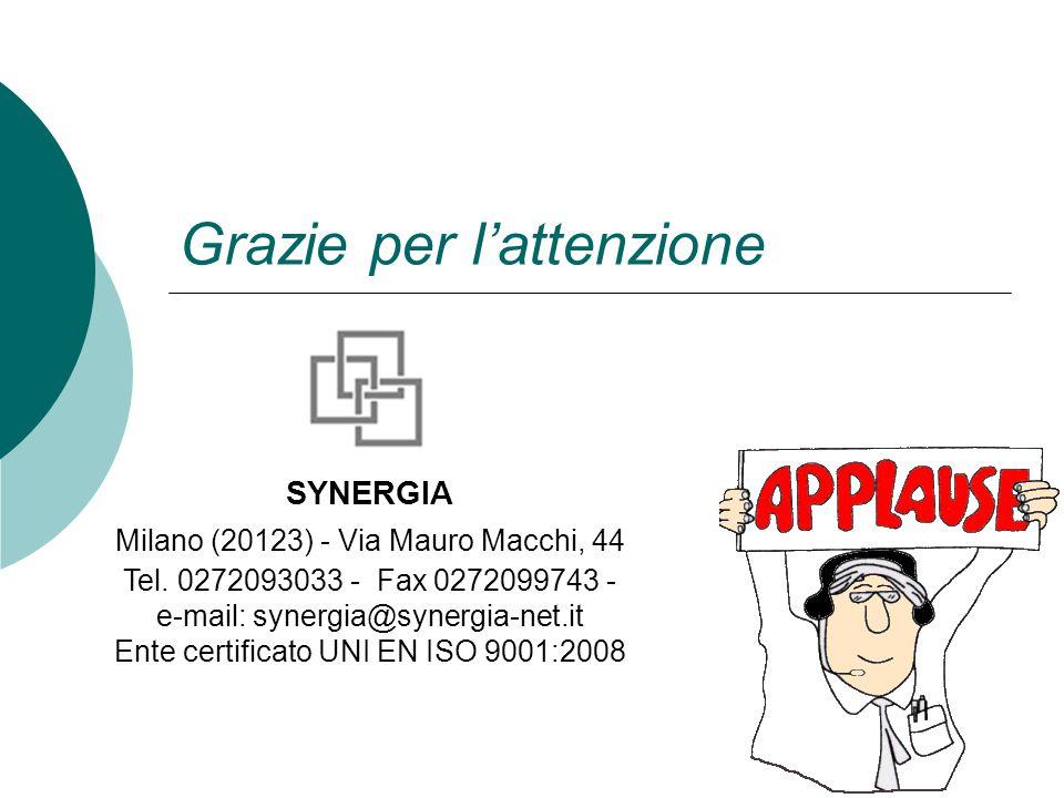 Grazie per l'attenzione SYNERGIA Milano (20123) - Via Mauro Macchi, 44 Tel. 0272093033 - Fax 0272099743 - e-mail: synergia@synergia-net.it Ente certif