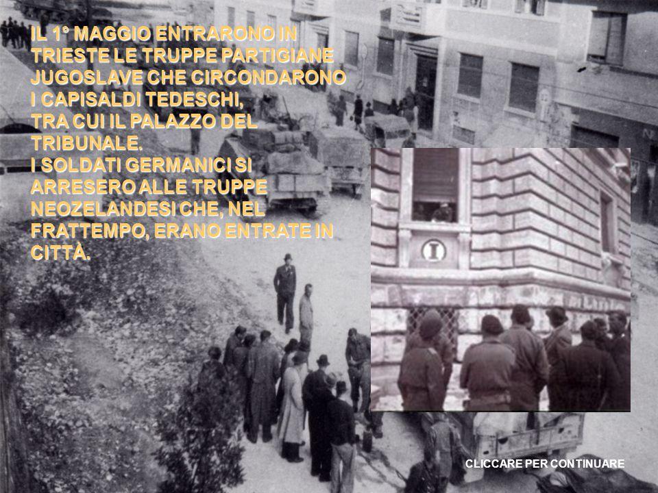 IL 29 APRILE 1945 IL GAULAITER RAINER E GRUPPENFÜHRER GLOBOCNICK ABBANDONARONO TRIESTE DIRETTI IN AUSTRIA, DOVE FURONO POI CATTURATI DAGLI ALLEATI.