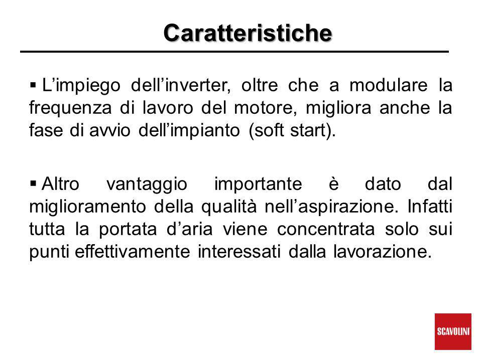Caratteristiche  L'impiego dell'inverter, oltre che a modulare la frequenza di lavoro del motore, migliora anche la fase di avvio dell'impianto (soft start).