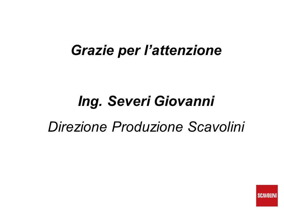 Grazie per l'attenzione Ing. Severi Giovanni Direzione Produzione Scavolini