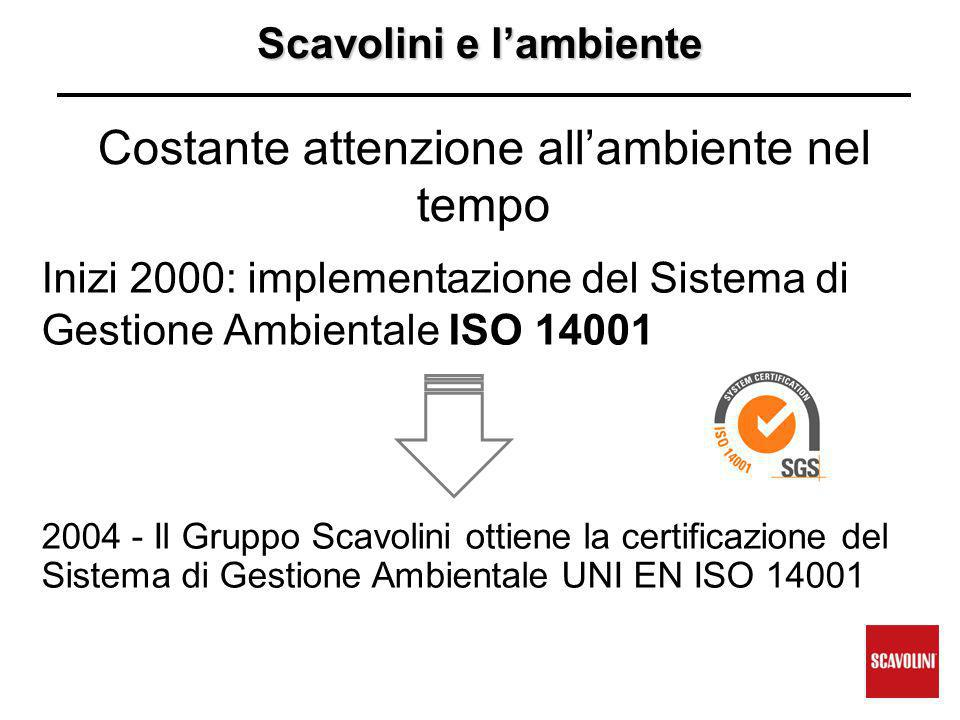 Scavolini e l'ambiente Costante attenzione all'ambiente nel tempo Inizi 2000: implementazione del Sistema di Gestione Ambientale ISO 14001 2004 - Il Gruppo Scavolini ottiene la certificazione del Sistema di Gestione Ambientale UNI EN ISO 14001