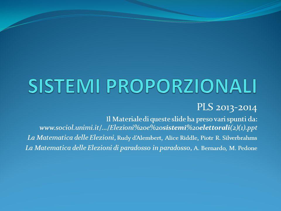 PLS 2013-2014 Il Materiale di queste slide ha preso vari spunti da: www.sociol.unimi.it/.../Elezioni%20e%20sistemi%20elettorali(2)(1).ppt  La Matematica delle Elezioni, Rudy d'Alembert, Alice Riddle, Piotr R.