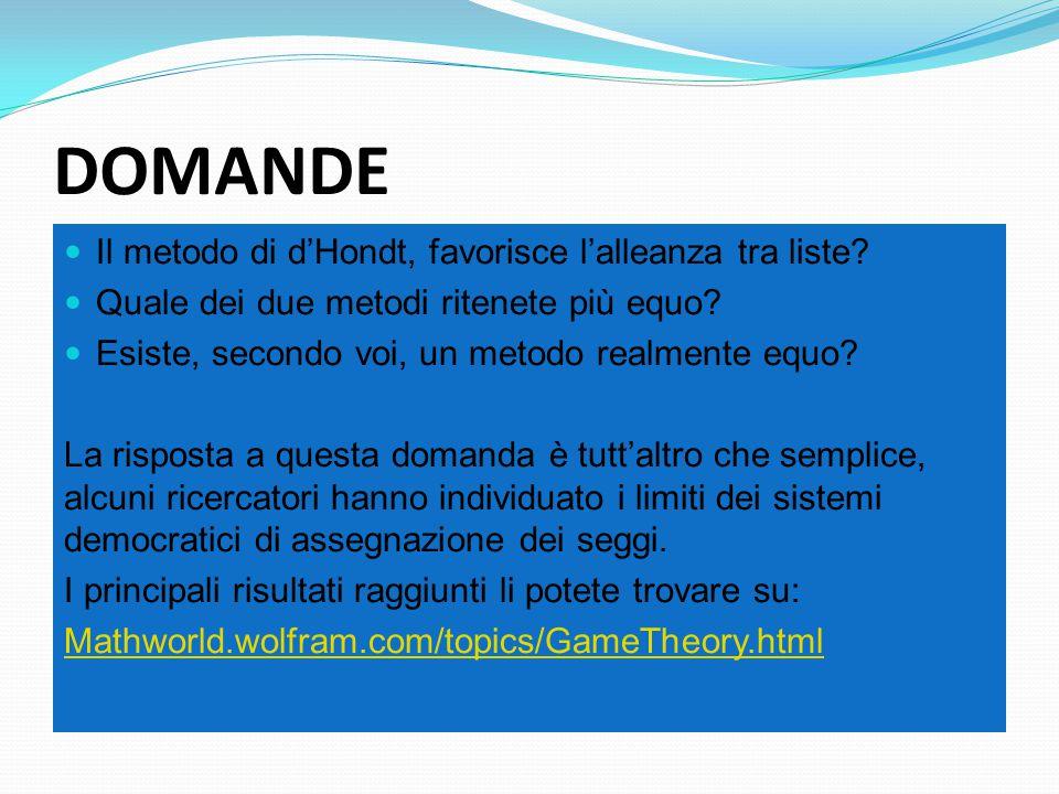 DOMANDE Il metodo di d'Hondt, favorisce l'alleanza tra liste.