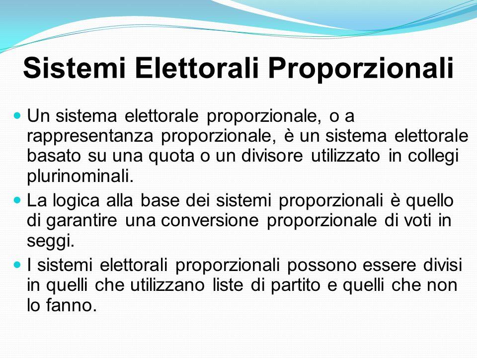 Sistemi Elettorali Proporzionali Un sistema elettorale proporzionale, o a rappresentanza proporzionale, è un sistema elettorale basato su una quota o un divisore utilizzato in collegi plurinominali.
