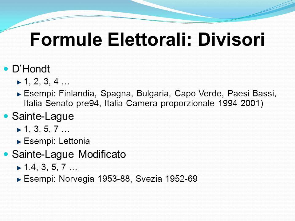 Formule Elettorali: Divisori D'Hondt 1, 2, 3, 4 … Esempi: Finlandia, Spagna, Bulgaria, Capo Verde, Paesi Bassi, Italia Senato pre94, Italia Camera proporzionale 1994-2001) Sainte-Lague 1, 3, 5, 7 … Esempi: Lettonia Sainte-Lague Modificato 1.4, 3, 5, 7 … Esempi: Norvegia 1953-88, Svezia 1952-69