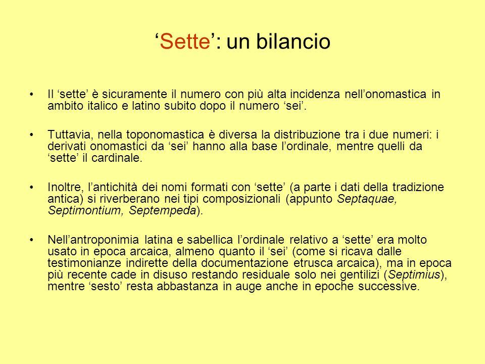 'Sette': un bilancio Il 'sette' è sicuramente il numero con più alta incidenza nell'onomastica in ambito italico e latino subito dopo il numero 'sei'.