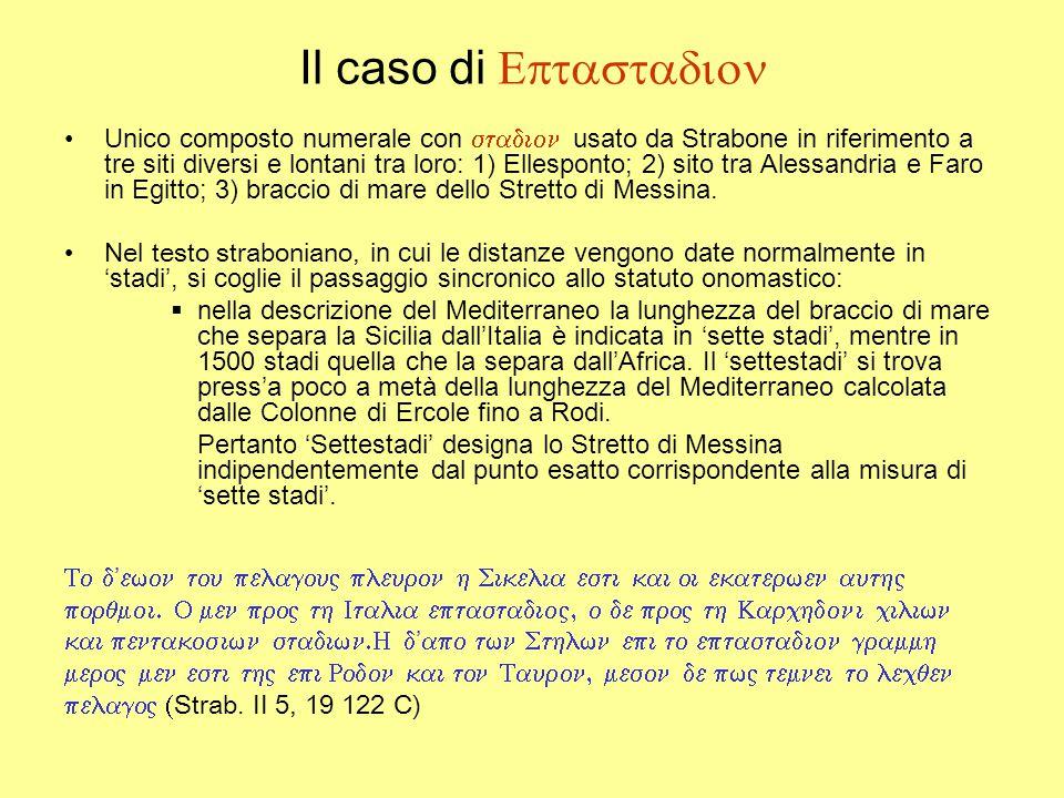 Il caso di  Unico composto numerale con  usato da Strabone in riferimento a tre siti diversi e lontani tra loro: 1) Ellesponto; 2) sito tra Alessandria e Faro in Egitto; 3) braccio di mare dello Stretto di Messina.