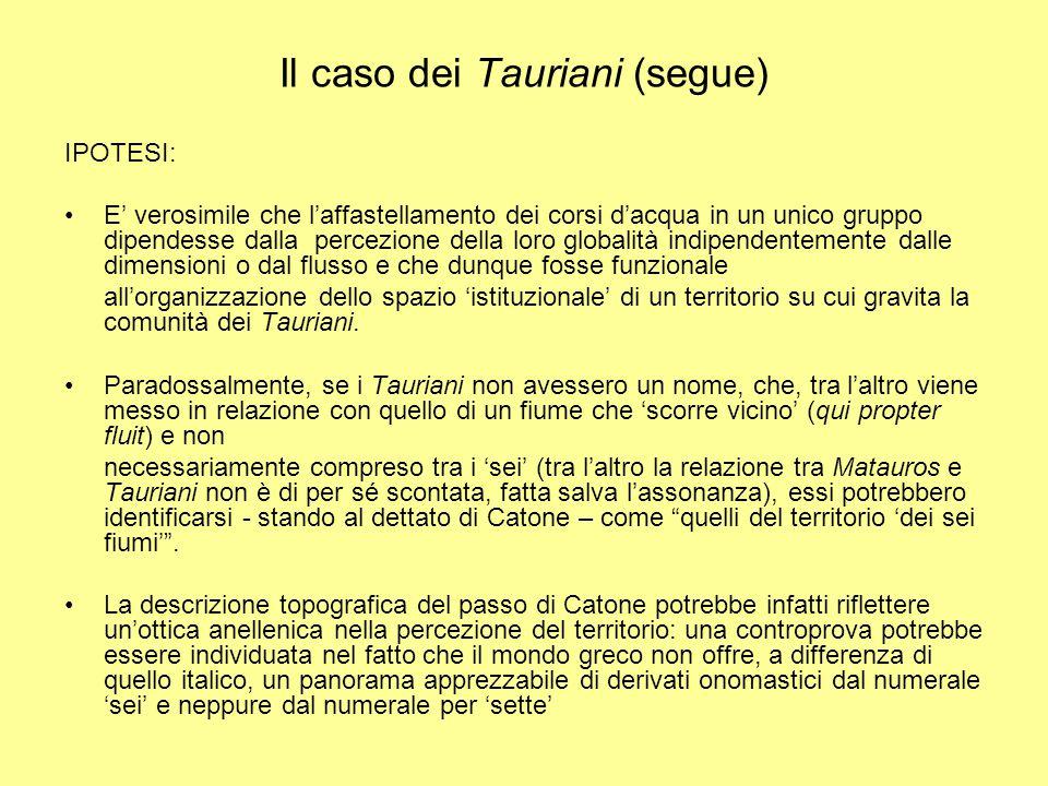 Il mondo italico e il 'sette' Nel mondo italico (e latino) il numerale per 'sette' ha una discreta incidenza nelle formazioni toponomastiche –Septem aquae o Septaquae in Nissen II, 474 (  in Dion.Hal., A.R.