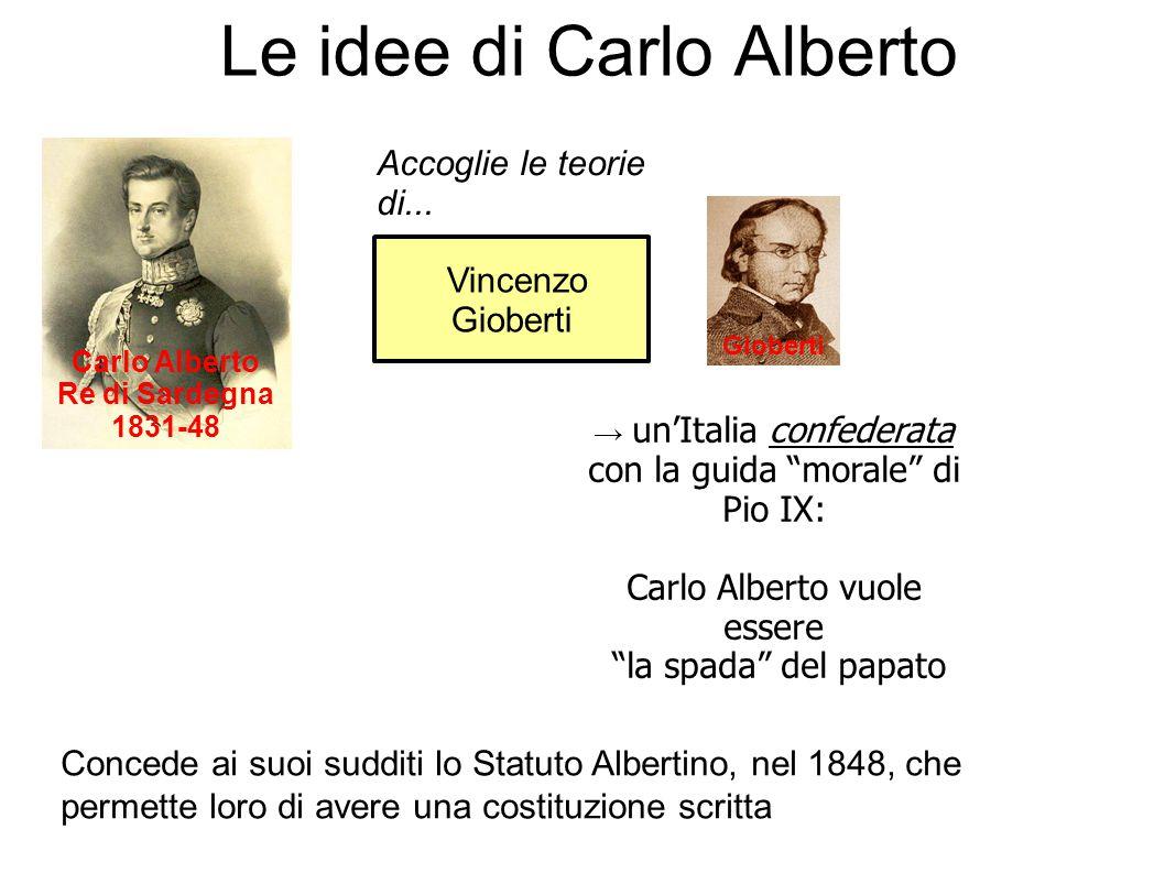 """Vincenzo Gioberti Le idee di Carlo Alberto Carlo Alberto Re di Sardegna 1831-48 Accoglie le teorie di... → un'Italia confederata con la guida """"morale"""""""