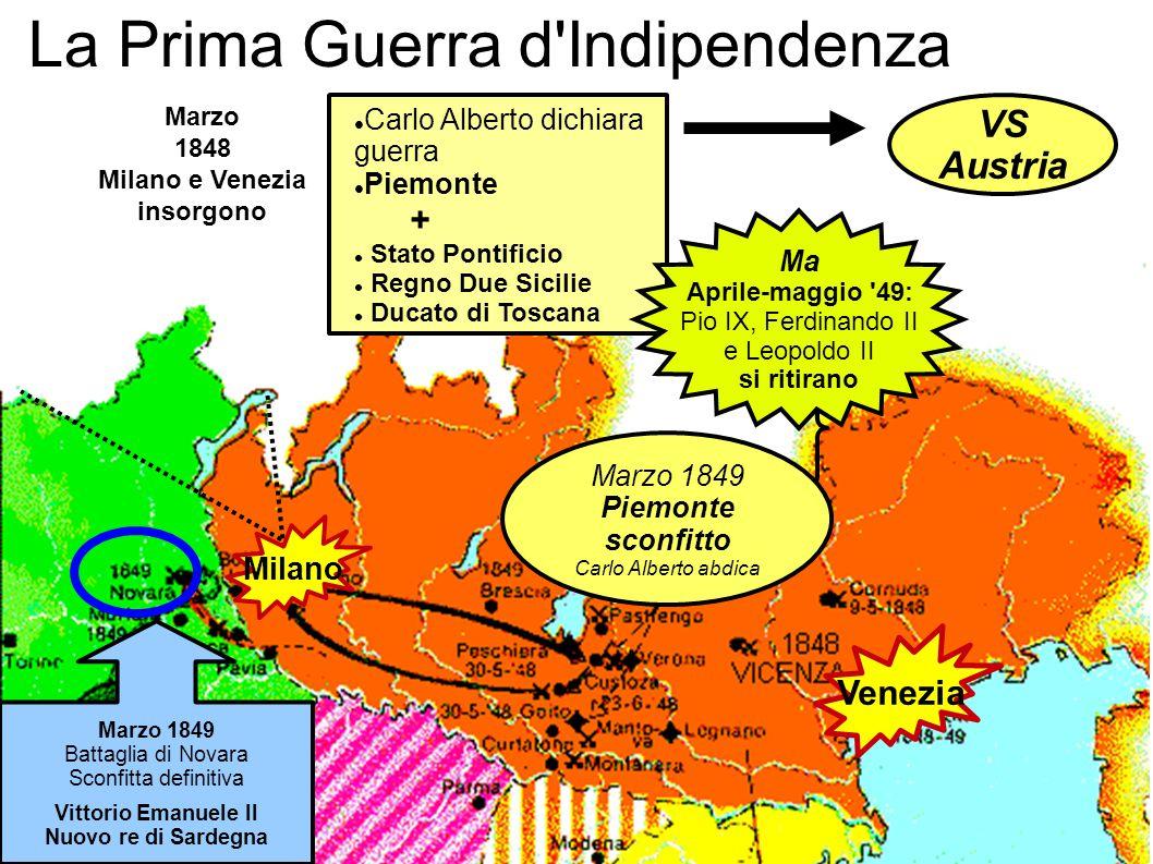 La Prima Guerra d'Indipendenza Milano Venezia Carlo Alberto dichiara guerra Piemonte + Stato Pontificio Regno Due Sicilie Ducato di Toscana Marzo 1849