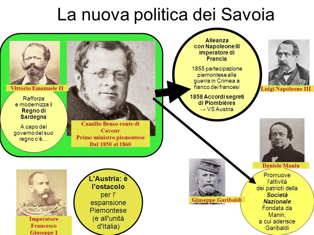La nuova politica dei Savoia Rafforza e modernizza il Regno di Sardegna A capo del governo del suo regno c'è… Promuove l'attività dei patrioti della S