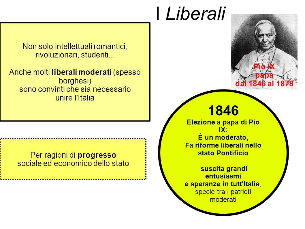 1846 Elezione a papa di Pio IX: È un moderato, Fa riforme liberali nello stato Pontificio suscita grandi entusiasmi e speranze in tutt'Italia, specie