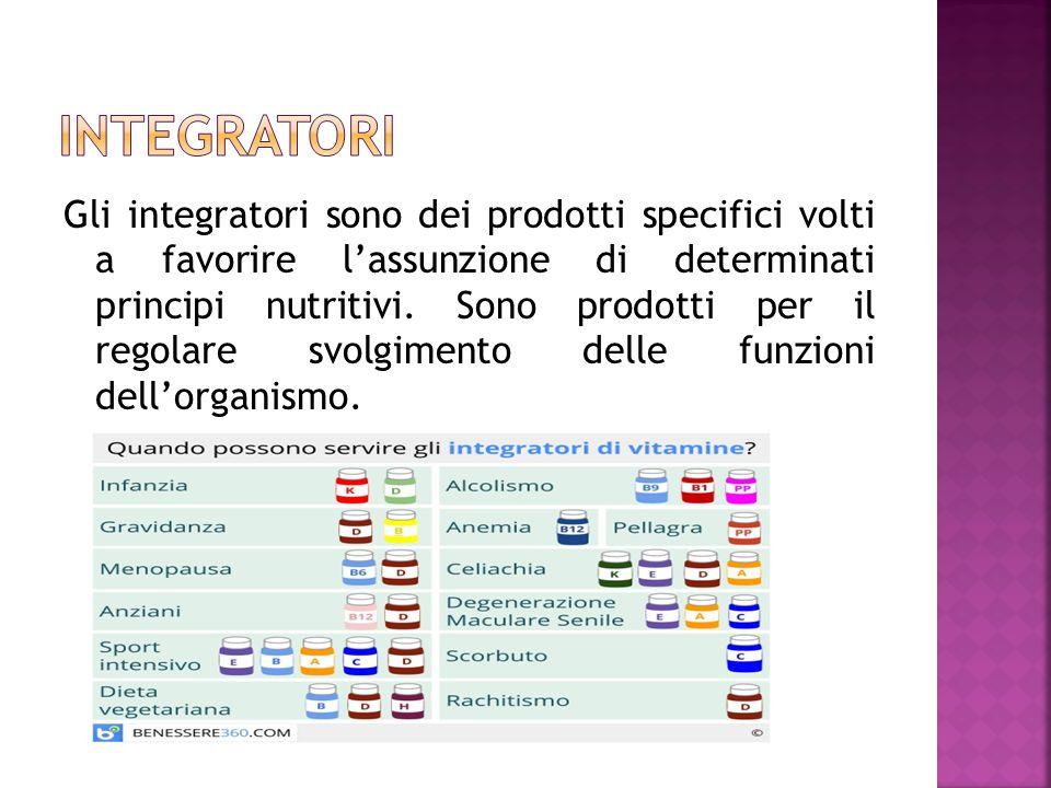 Gli integratori sono dei prodotti specifici volti a favorire l'assunzione di determinati principi nutritivi. Sono prodotti per il regolare svolgimento