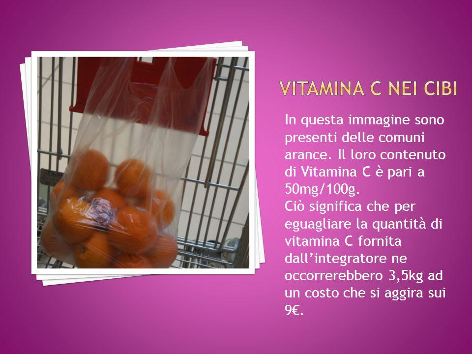In questa immagine sono presenti delle comuni arance. Il loro contenuto di Vitamina C è pari a 50mg/100g. Ciò significa che per eguagliare la quantità