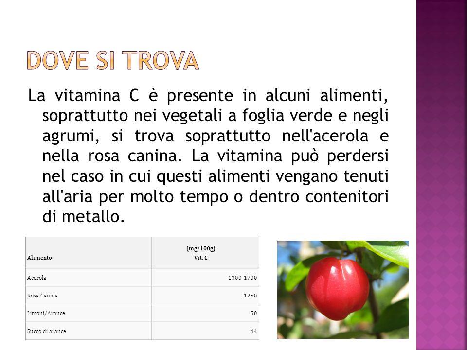 La vitamina C è presente in alcuni alimenti, soprattutto nei vegetali a foglia verde e negli agrumi, si trova soprattutto nell'acerola e nella rosa ca