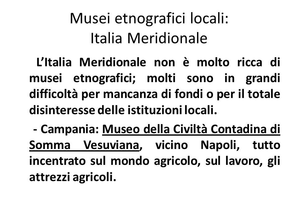 Musei etnografici locali: Italia Meridionale L'Italia Meridionale non è molto ricca di musei etnografici; molti sono in grandi difficoltà per mancanza