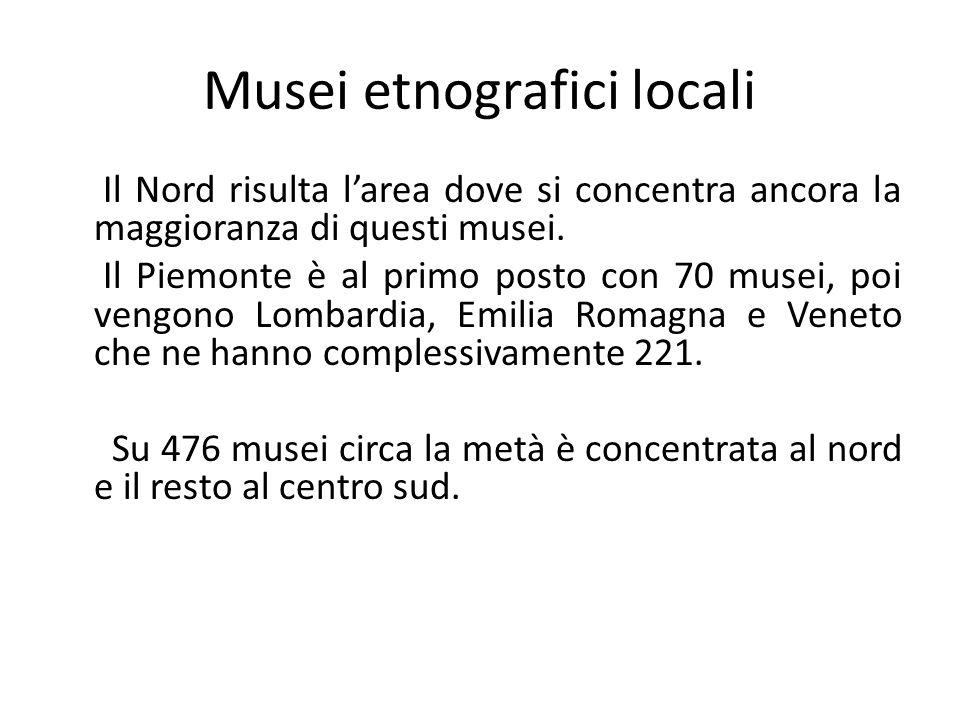 Musei etnografici locali Il Nord risulta l'area dove si concentra ancora la maggioranza di questi musei. Il Piemonte è al primo posto con 70 musei, po
