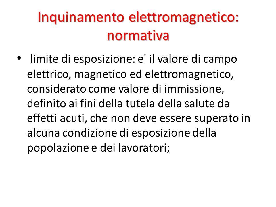 Inquinamento elettromagnetico: normativa limite di esposizione: e il valore di campo elettrico, magnetico ed elettromagnetico, considerato come valore di immissione, definito ai fini della tutela della salute da effetti acuti, che non deve essere superato in alcuna condizione di esposizione della popolazione e dei lavoratori;