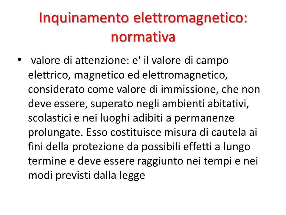 Inquinamento elettromagnetico: normativa valore di attenzione: e il valore di campo elettrico, magnetico ed elettromagnetico, considerato come valore di immissione, che non deve essere, superato negli ambienti abitativi, scolastici e nei luoghi adibiti a permanenze prolungate.