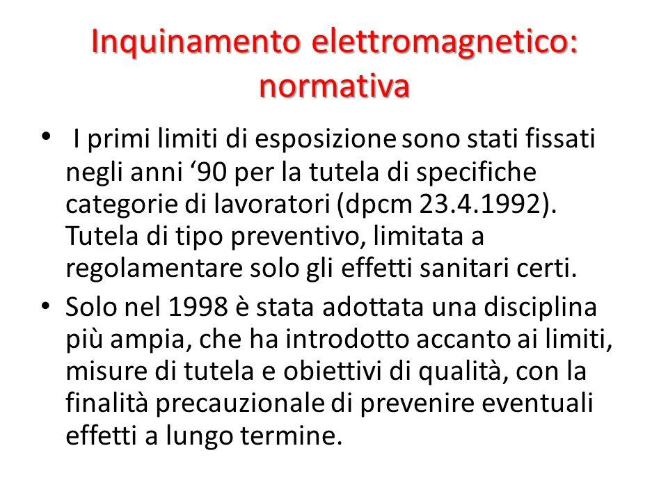 Inquinamento elettromagnetico: normativa I primi limiti di esposizione sono stati fissati negli anni '90 per la tutela di specifiche categorie di lavoratori (dpcm 23.4.1992).