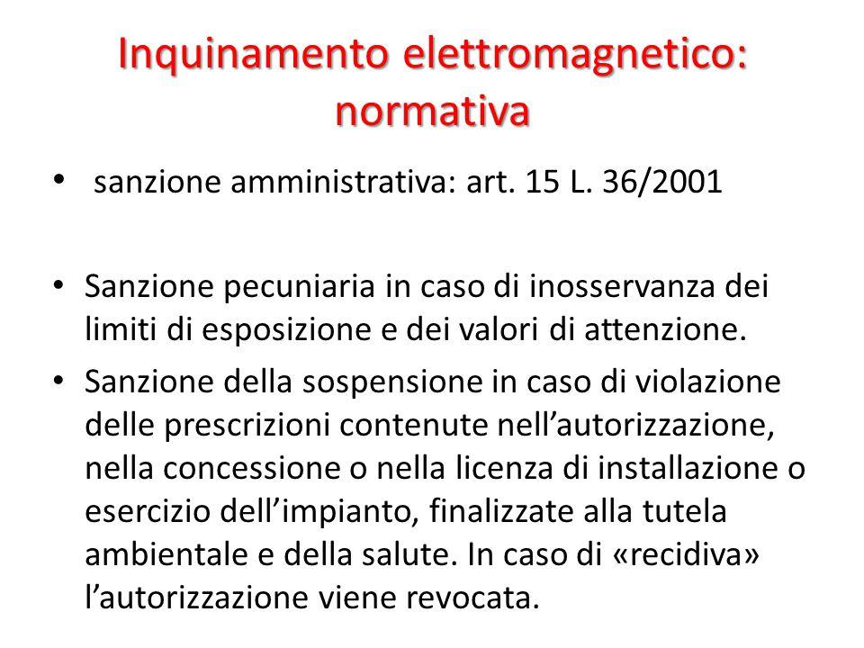 Inquinamento elettromagnetico: normativa sanzione amministrativa: art.