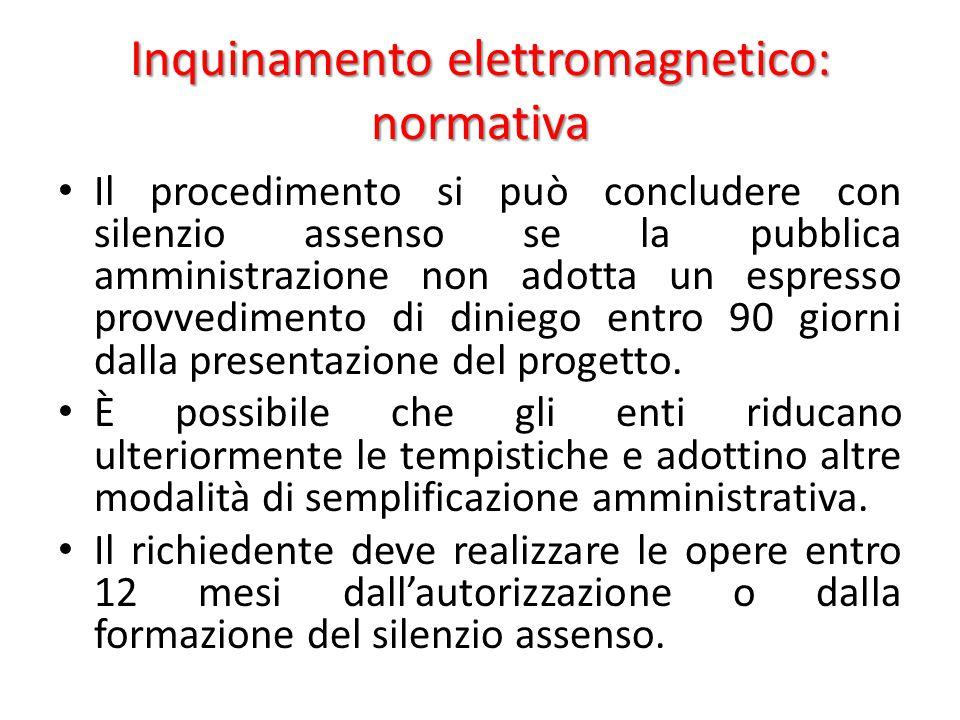 Inquinamento elettromagnetico: normativa Il procedimento si può concludere con silenzio assenso se la pubblica amministrazione non adotta un espresso provvedimento di diniego entro 90 giorni dalla presentazione del progetto.