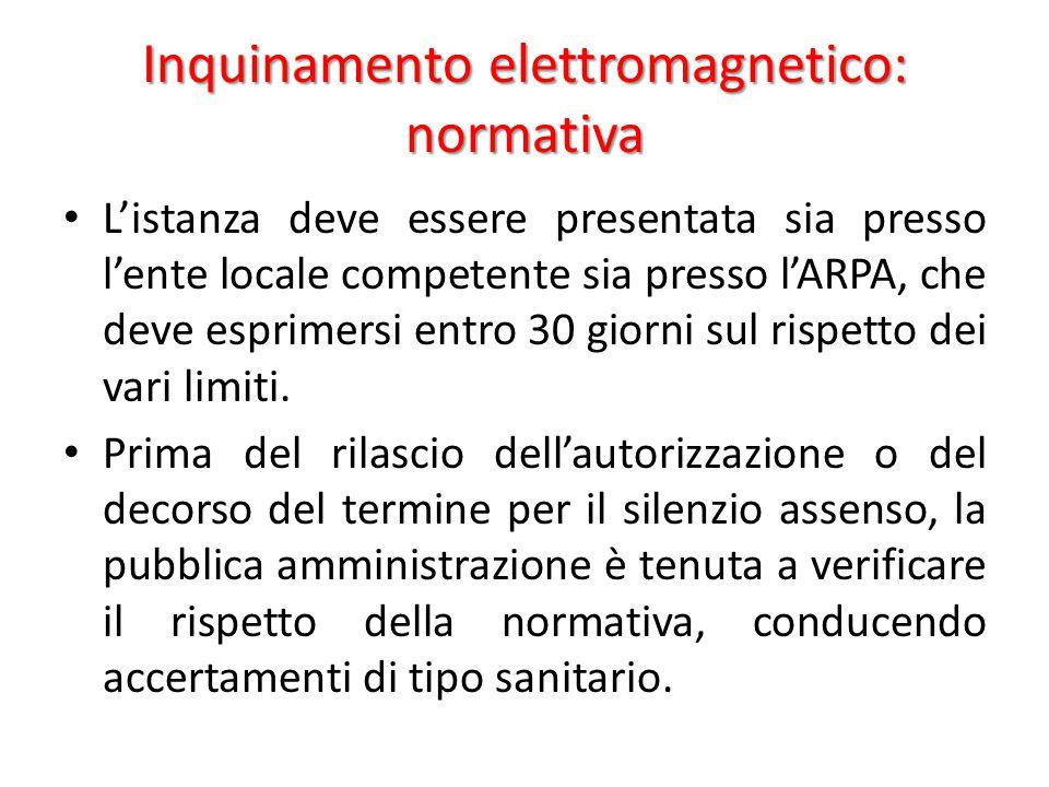 Inquinamento elettromagnetico: normativa L'istanza deve essere presentata sia presso l'ente locale competente sia presso l'ARPA, che deve esprimersi entro 30 giorni sul rispetto dei vari limiti.