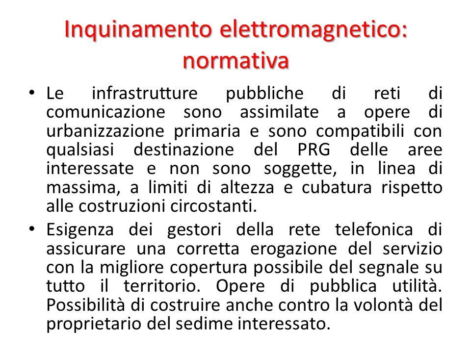 Inquinamento elettromagnetico: normativa Le infrastrutture pubbliche di reti di comunicazione sono assimilate a opere di urbanizzazione primaria e sono compatibili con qualsiasi destinazione del PRG delle aree interessate e non sono soggette, in linea di massima, a limiti di altezza e cubatura rispetto alle costruzioni circostanti.