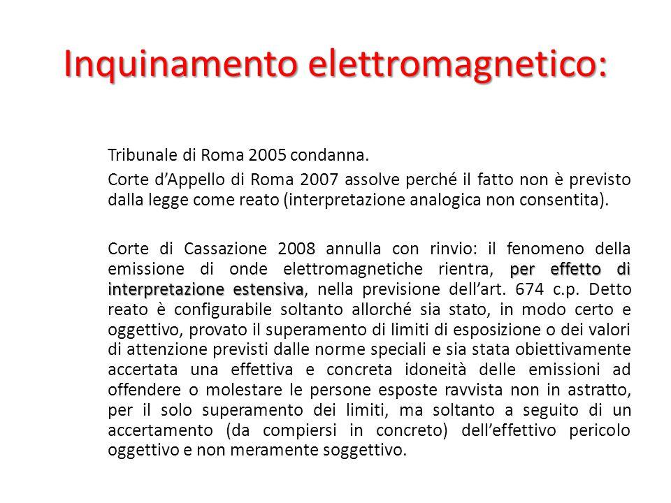 Inquinamento elettromagnetico: Tribunale di Roma 2005 condanna.