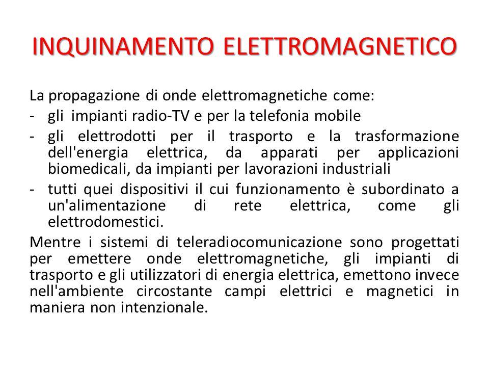 INQUINAMENTO ELETTROMAGNETICO La propagazione di onde elettromagnetiche come: -gli impianti radio-TV e per la telefonia mobile -gli elettrodotti per il trasporto e la trasformazione dell energia elettrica, da apparati per applicazioni biomedicali, da impianti per lavorazioni industriali -tutti quei dispositivi il cui funzionamento è subordinato a un alimentazione di rete elettrica, come gli elettrodomestici.