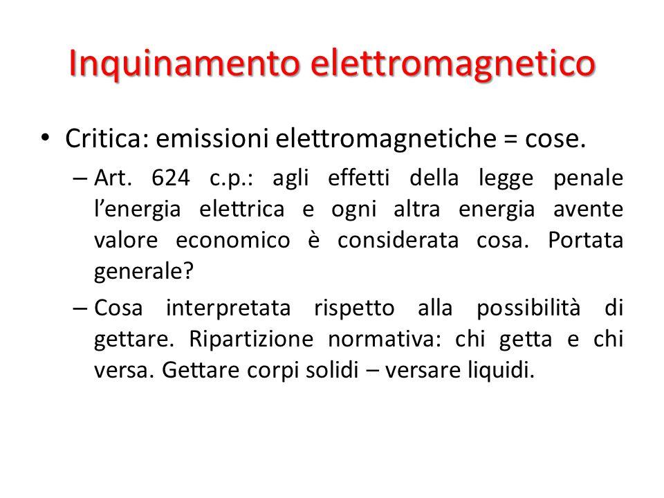 Inquinamento elettromagnetico Critica: emissioni elettromagnetiche = cose.